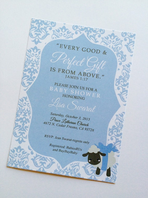 to james 1 17 invitation boys baby shower invitation bible verse
