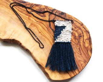 Handwoven Pendant Necklace | tapestry | weaving | fiber art | textile