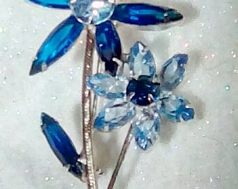 Juliana Style Blue Navette Rhinestone Flower Petal Spray Brooch