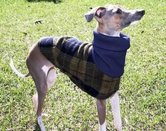 """Italian Greyhound Clothes - """"Olive Plaid"""". Small Dog Clothes. Dog Clothing. Dog Apparel. Fleece Dog Coat. Pet Clothing. Dog Jacket."""