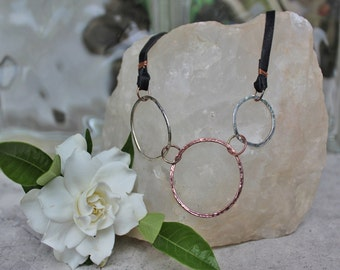 Hammered Sterling Silver and Copper Necklace Plus Leather Straps