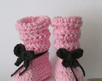 Tall & Slouchy Baby Boots ~Pink booties with black bows Size 0/1 (Newborn to 3 mos)  FREE SHIPPING