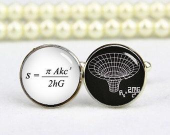 Black Hole Cufflinks, The Paradox Equation, Custom Any Text Or Photo, Personalized Cufflinks, Custom Wedding Cufflinks, Groom Cufflinks Gift