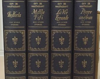 Guy de Maupassant , 1922 , set of 4 books ,  Navy Books , Standard Classics ,  Pierre Jean , La Vie Errante , The Horla , Mademoiselle Fifi
