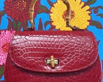 Vintage red laquer handbag with bamboo handle