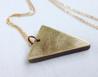 Vannucchi - Walnut and Brushed Brass 'Zia' Triangle Necklace