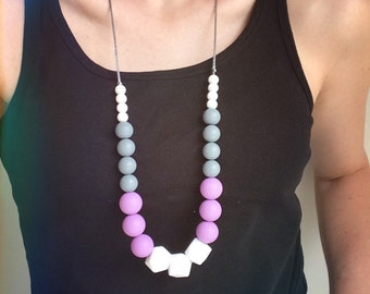 Silicone Teething Necklace - Hard Candy (Purple)