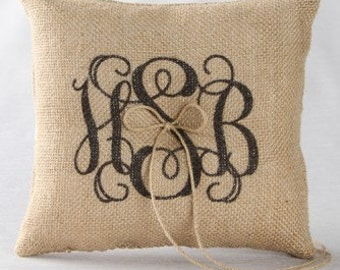 Burlap Monogrammed Wedding Ring Pillow Rustic Country Wedding