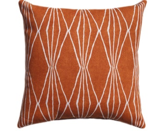 Orange Pillow - Burnt Orange Pillow Cover - Handcut Shapes Orange Throw Pillow - Orange Accent Pillow - Robert Allen Decorative Pillow