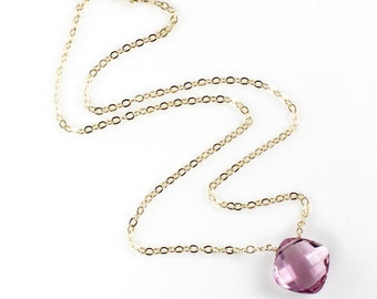 Pink Amethyst Necklace Short 16 inches 14k gold filled chain