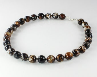 Statement Beaded Necklace Agate and Pyrite with a Sterling Silver Clasp