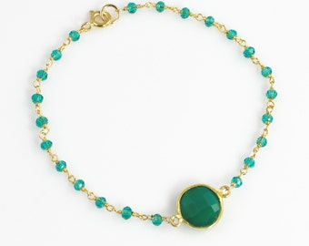 Delicate Green Jade Gemstone Bracelet with Green Crystal and Vermeil Chain
