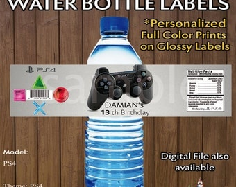 PS4 Water Bottle Labels ~Playstation ~ on White Glossy self adhesive prints ~