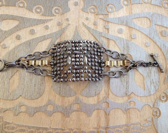 French Victorian cut steel buckle assemblage bracelet - No. 6, upcycle recycle repurpose, french vintage