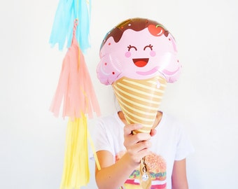 Mini Ice Cream Balloon - Party Decor Photobooth Prop WITH Cup and Stick