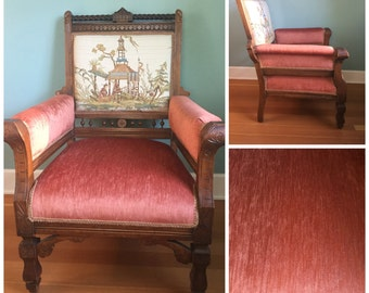 Antique Vintage Wood Eastlake Victorian Armchair, Reupholstered With 8 Way Tie Springs.