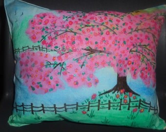 cushion hand painted apple blossom