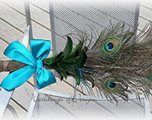 Peacock Themed Wedding Broom PEACOCK Feathers Customize Your Colors