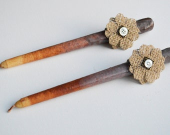 Primitive Faded Grubby Cinnamon Taper Candles -  Pair of Ivory and Rust Primitive Style Candles with Burlap Flowers - 12 inch Taper Candles