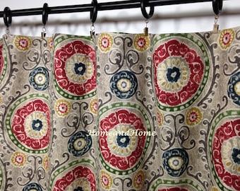 Window Curtains drapery panels designer curtain Tamariz Blend Linen grey green navy gold red stone 25 x 84  96 108 Custom drapery
