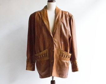Vintage Oversize Jacket // Leather  // 80s