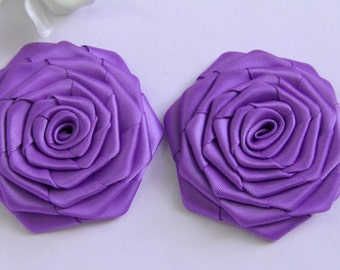 Handmade Ribbon Roses In Violet  (2 inches). Ready To Ship.