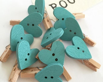 Pack of Ten Turquoise Blue Heart Mini Pegs