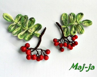 Crochet brooch * rowan berries *autumn decoration*Autumn leaf* Autumn Jewelry*Fall Brooch*autumn trends*Woodland brooch*Gift ideas for women