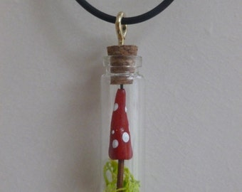 Handcrafted toadstool in a jar necklace