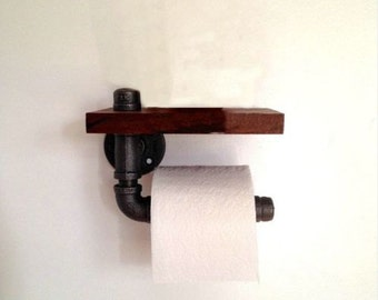 Industrial iron pipe and reclaimed wood toilet roll holder shelf