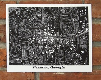 Decatur Map Art Print, Georgia Map Art, Black and White