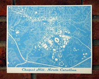 UNC Map Art Print, University of North Carolina, Chapel Hill, Tar Heels