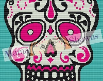 Sugar Skull Graphghan Pattern, Written Pattern, Word Chart, Row by Row, Day of the Dead, Dia De Los Muertos, Gothic Skull, Crochet Bedding