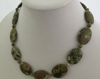 Rhyolite natural stone necklace
