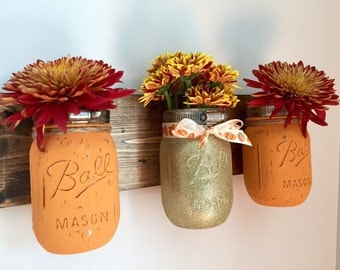 Fall Mason Jar Display Organizer