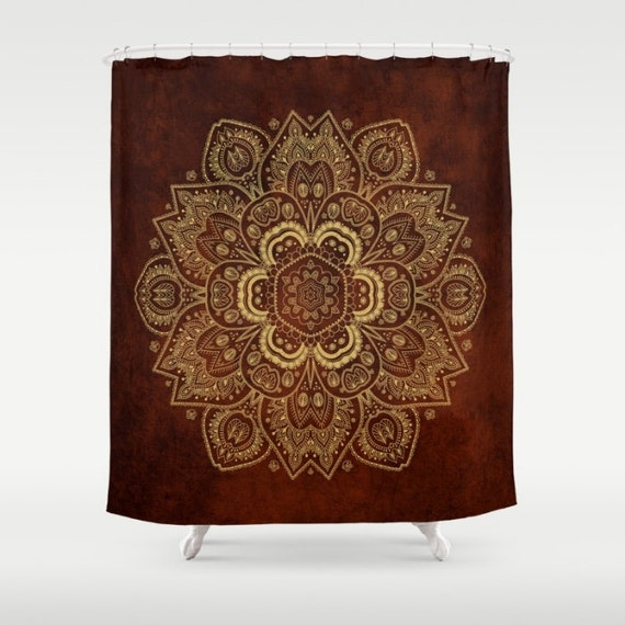 Shower curtain royal red and gold mandala 71 by for Red and gold bathroom set