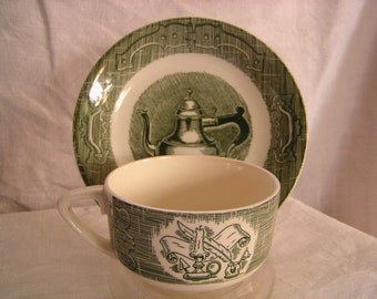 Royal China Old Curiosity Shop Green Flat Cup and Saucer