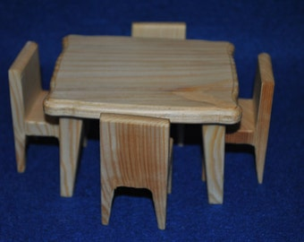 Living room dolls - doll wooden house - dollhouse furniture - wood dollhouse furniture - wood table - toy furniture - wooden chair