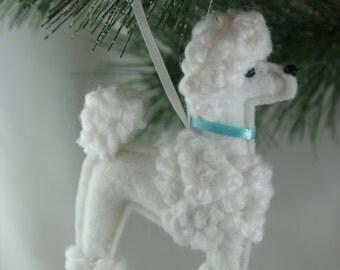 felt poodle ornament, white poodle ornament, handmade felt ornament