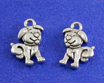 8 pcs.- Antiqued Silver Puppy Dog Charm 17.5x11mm, Tiny Dog Pendant, Silver Puppy Charm