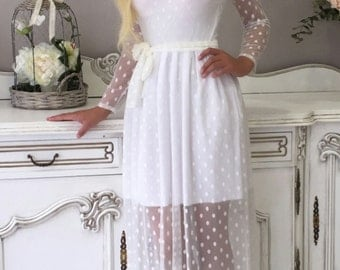 Perl  Wedding Dress Long Sleeves Pearl Dots V Open Back