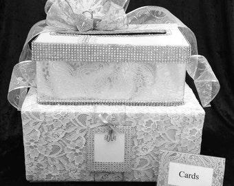 Wedding Card Box,Silver Wedding Card Box,Wedding,White Wedding Dress,wedding card box with slot,wedding card,bling,wedding card holder,