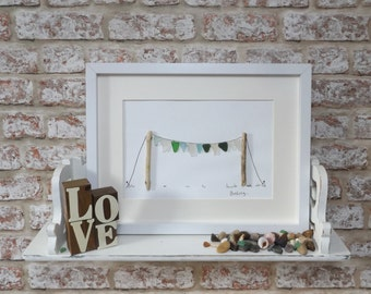 Sea Glass and Pebble Art, Limited Edition, Bunting