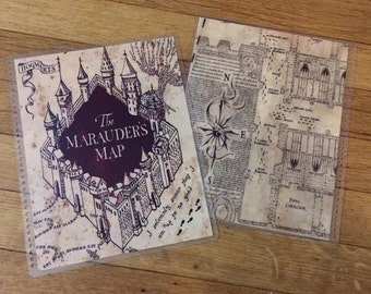 Front and Back Cover Set Harry Potter Marauder's Map for use with Erin Condren, Happy Planner, A5 Filofax or Mom on the Go Planner
