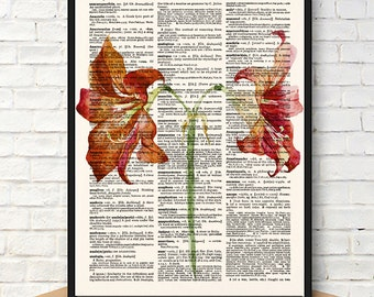 Orchid Botanical Print, Watercolor Orchid, Orchid Flower Print, Flower Print, Red Flowers, Botanical Print, Kitchen Wall Art, Botanicals,589