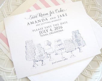 Save Room for Cake Hand Drawn Save the Date Cards (set of 25 cards and envelopes)