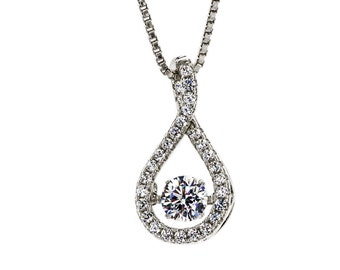 NANA Tear Drop Silver Dancing Stone (CZ) Pendant/Necklace Platinum Plated w/ Chain