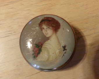 Vintage 1960's small candy tin, English candy tin, movie prop, dainty candy tin