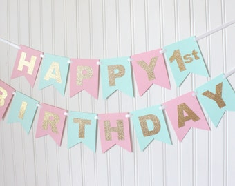 Gold, Pink, Mint, Happy Birthday Banner/ Girl Birthday/ Princess Party/ Party Decorations/ Custom Name/ Personalized