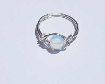 Opalite Ring, Opalite Wire Wrap Ring, Wire Wrapped Opalite Ring, Wire Wrap Ring, Wire Wrapped Opalite, Opalite Crystal, Gemstone Ring, Ring